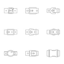 Metal Belt Buckle Icon Set, Outline Style