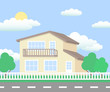 Suburban street vector. Cottage and landscape.