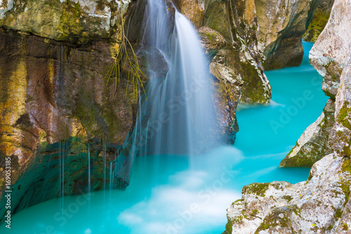Foto op Aluminium Rivier Great canyon of Soca river, Slovenia