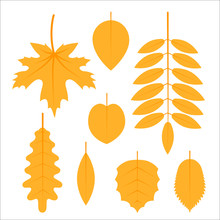 Set Of Autumn Leaves, Simple Flat Images