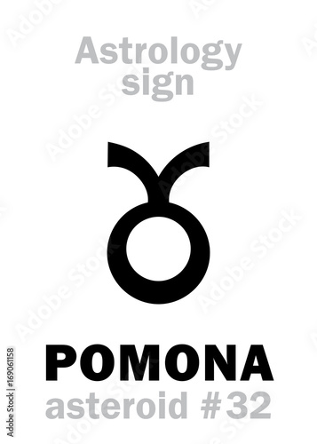 Astrology Alphabet: POMONA, asteroid #32  Hieroglyphics