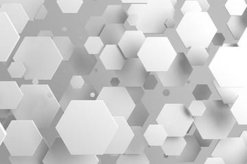 FototapetaWhite hexagons of random size on white background