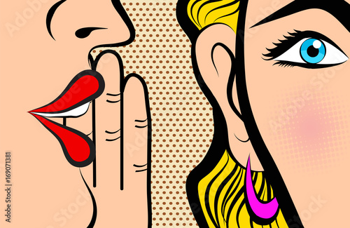 Retro Pop Art style Comic Style Book panel gossip girl whispering in ear secrets with pink cheek, rumor, word-of-mouth concept vector illustration