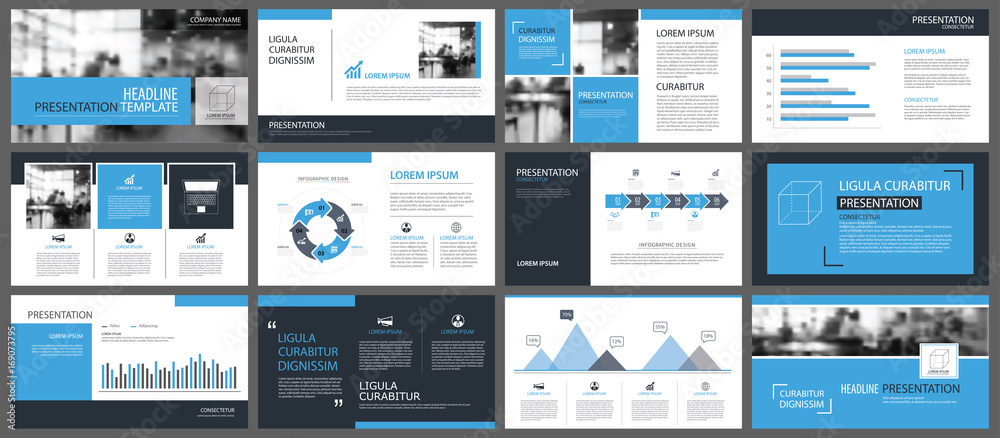 Fototapeta Blue presentation templates and infographics elements background. Use for business annual report, flyer, corporate marketing, leaflet, advertising, brochure, modern style.