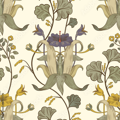 Floral vintage seamless pattern Wallpaper Mural