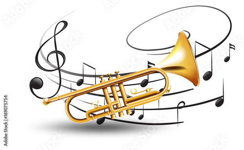 Golden trumpet with music notes in background Fototapeta
