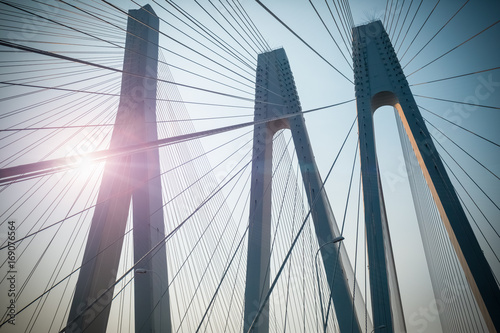 Spoed Fotobehang Bruggen cable-stayed bridge closeup