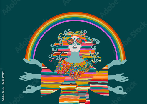 Photo  Psychedelic hippie woman, goddess, eps10 vector