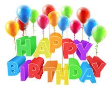 Happy Birthday Floating On Bal...
