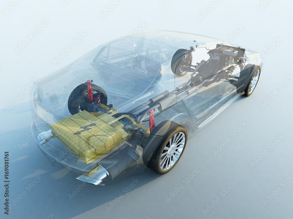 Fototapeta Hybrid Elektro Benzin fahrzeug