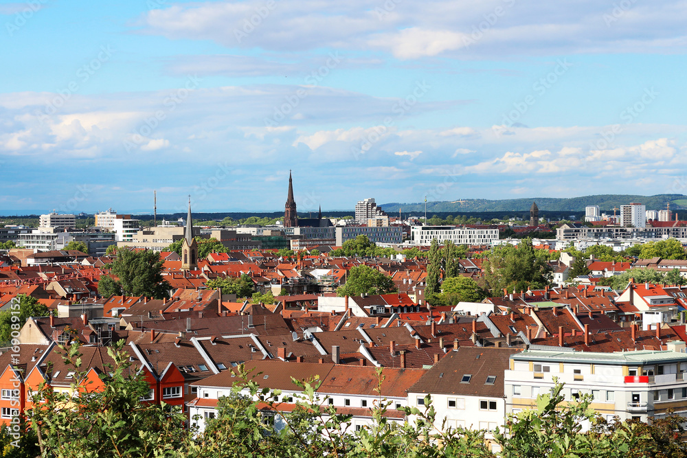 Fototapety, obrazy: view above the roofs of Karlsruhe - Germany