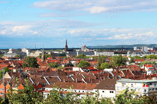 Fotografia, Obraz  view above the roofs of Karlsruhe - Germany