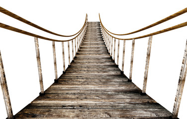 Old wooden suspended bridge isolated on white background. 3D illustration