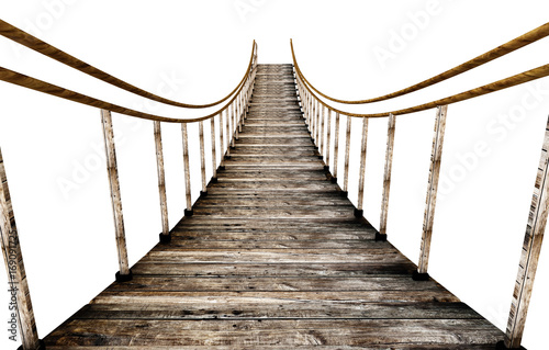 Poster Bridge Old wooden suspended bridge isolated on white background. 3D illustration