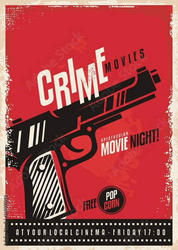 Obraz na plátně  Crime movies poster design template with gun on red background