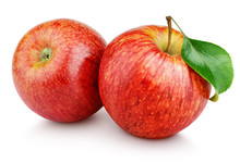 Two Ripe Red Apple Fruits With...