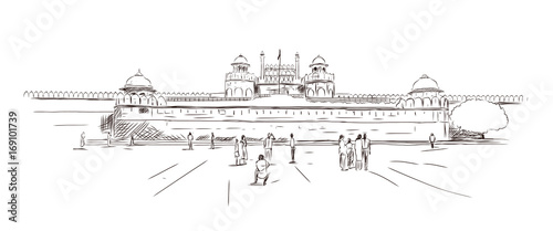 Fotografie, Tablou  Sketch of The Red Fort at New Delhi in vector illustration