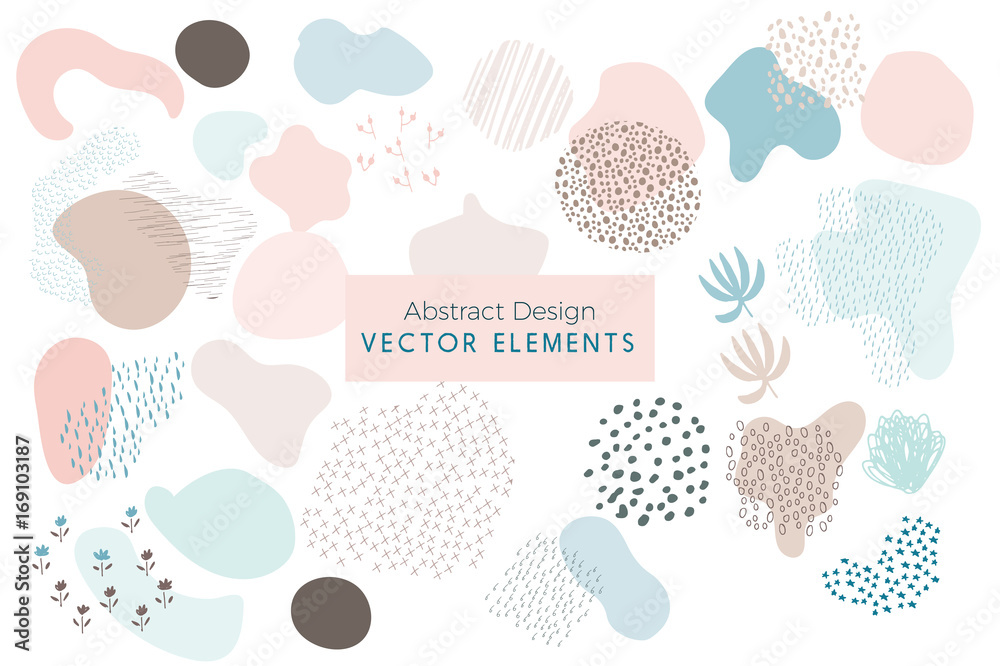 Fototapeta Set of Vector Abstract Brush Strokes, Hand Drawn Design Elements, Organic Shapes, Abstract Backgrounds