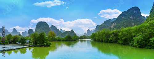 Stickers pour porte Guilin Guilin Yangshuo beautiful natural scenery