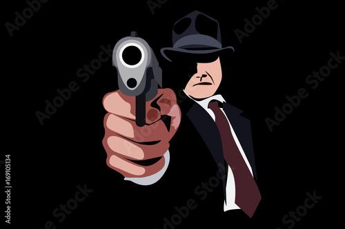 man in hat with a gun. mafia. Fototapet