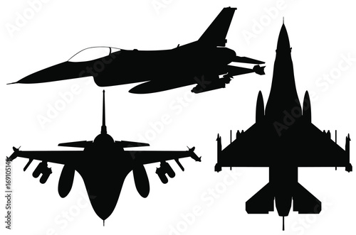 Vector Silhouette Set Of The Fighter Jet F 16 Buy This Stock Vector And Explore Similar Vectors At Adobe Stock Adobe Stock