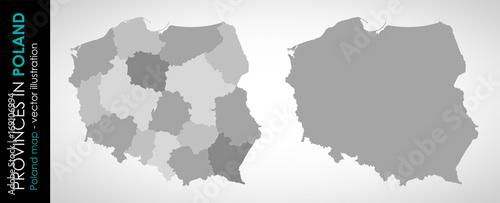 Fotografia  Wektorowa mapa województw w Polsce MONOCHROMATYCZNA