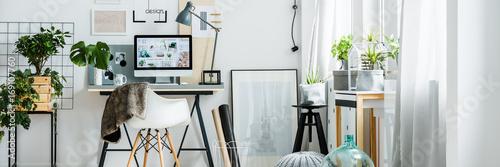 Obraz Panorama of freelancer's apartment interior - fototapety do salonu