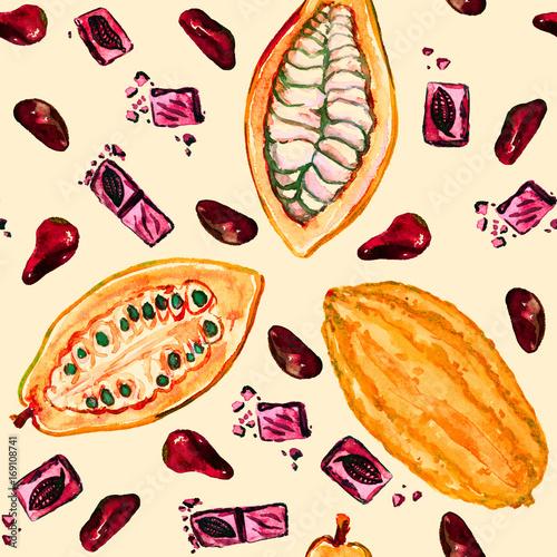 cacao-tree-theobroma-dojrzale-fasola-plasterki-fasoli-i-czekolady-wzor-bez-szwu-recznie-malowane-akwarela-ilustracja-miekkie