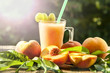 Bright peaches. Peach smoothies. close-up. sunlight.