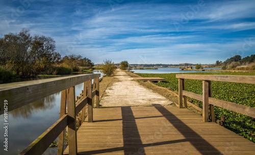 Keuken foto achterwand Landscape and Autumn exposure in a wooden deck done in Pateira de Fermentelos, portugal