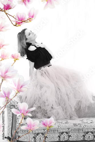 Fototapeta Attractive mature woman with tutu skirt