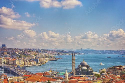 Carta da parati Istanbul Aerial View with Halic and Bosphorus