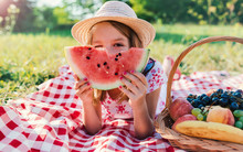 Picnic Time. Little Girl Enjoying In Picnic. Nature, Lifestyle