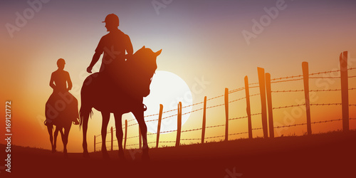 Fotografie, Obraz promenade à cheval - cavalier - cheval - équitation - randonnée - coucher de sol