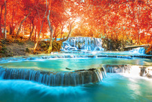 """Waterfall In Autumn Forest, Names """" Tat Kuang Si Waterfalls """" In Luang Prabang Lao With Red Leaves Spring Filter"""