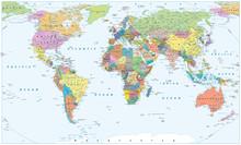 Political World Map - Borders,...