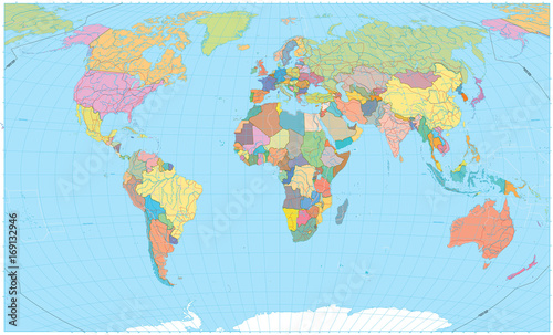 Colored World Map Borders Roads Rivers And Lakes No Text Buy