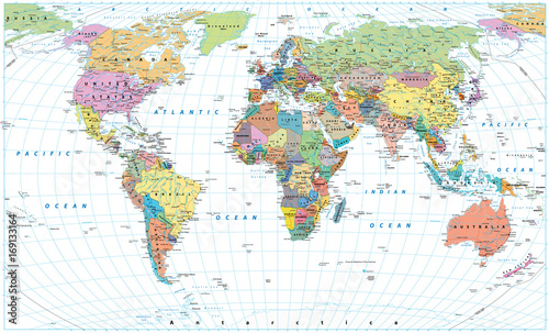 Colored World Map - borders, countries, roads and cities. Isolated on white