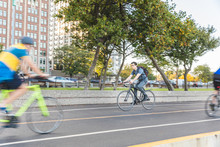 Man Cycling In The Chicago Cit...