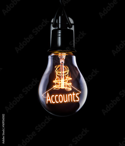 Hanging lightbulb with glowing Accounts concept. Canvas Print