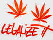 Graffiti of Hemp Leaves and the Words Legalize It in Red