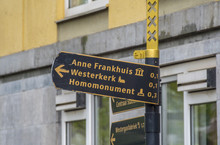 Direction Sign To The Anne Frank House In Amsterdam - AMSTERDAM - THE NETHERLANDS - JULY 20, 2017