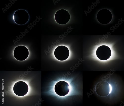 Solar eclipse sequence of events stages sun moon overlap light shadow scientific data background