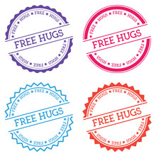 Free Hugs Badge Isolated On White Background. Flat Style Round Label With Text. Circular Emblem Vector Illustration.