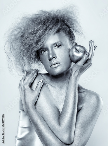 Poster Portrait Aquarelle Silver girl with apple