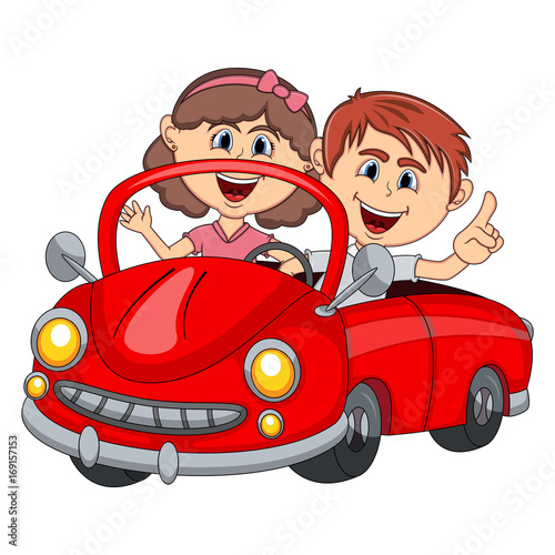 Staande foto Cartoon cars Car and a couple young passengers cartoon