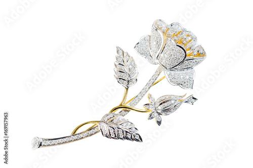 flower broochs on white background Fototapete