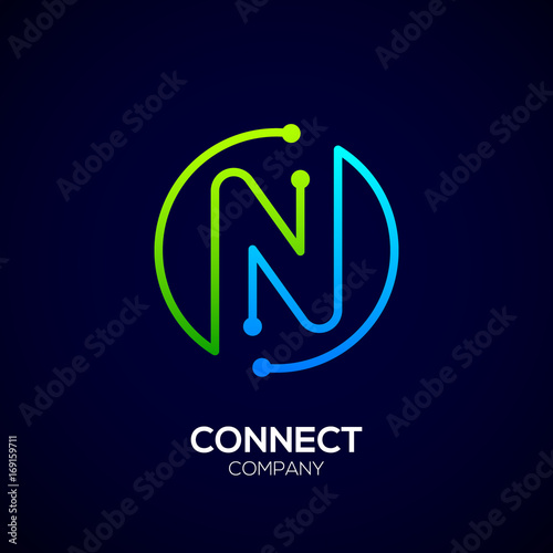 Letter N Logo Circle Shape Symbol Green And Blue Color Technology