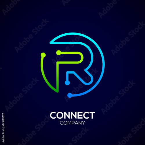 Letter R Logo Circle Shape Symbol Green And Blue Color Technology