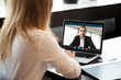 canvas print picture - Businesswoman making video call to business partner using laptop, looking at screen with virtual web chat, contacting client by conference, talking on webcam, online consultation, hr concept, close up
